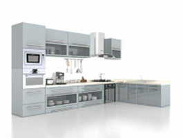Gray kitchen cabinets design 3d model