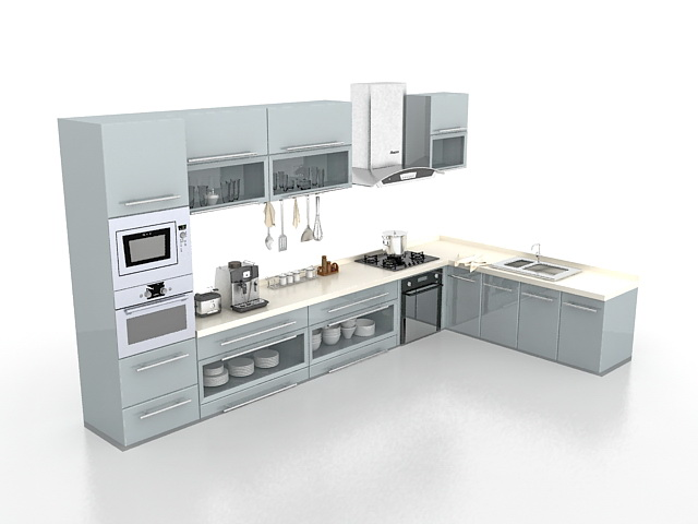 Gray Kitchen Cabinets Design 3d Model 3ds Max Files Free Download