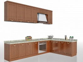 L-shaped kitchen design cabinet 3d model