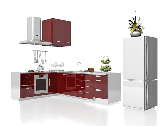 3D Model Of Modern L Shaped Kitchen Design, Red And White Kitchen Floor  Cabinets, Wall Cabinets, Sink, Oven, Cooking Stove, Refrigerator, Range  Hood And ...