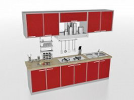 Red straight-line kitchen design 3d model