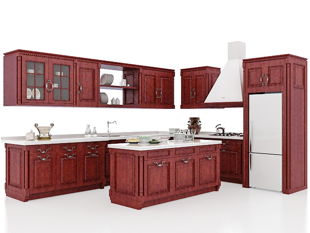 Pleasing Vintage Rustic Kitchen Cabinets Design 3D Model Cadnav Download Free Architecture Designs Scobabritishbridgeorg