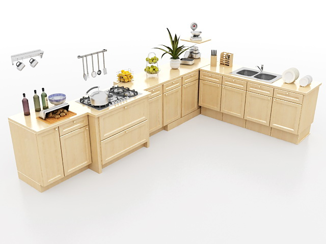 wonderful Kitchen Floor Cabinets #9: 3D model of L-shaped kitchen cabinet design, wood floor cabinets with sink,  cooking stove and other kitchen utensils. Available 3d files format: