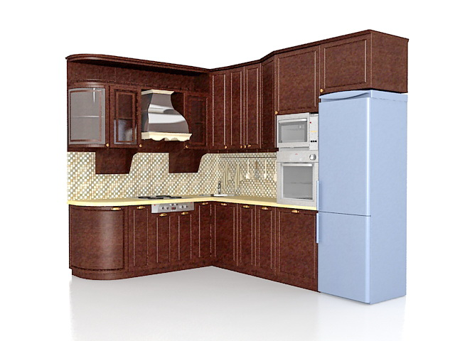 American Country Kitchen Design Ideas 3d Model