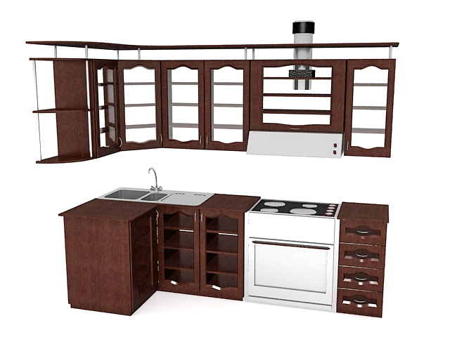 Small Country Kitchen Design 3d Model 3ds Max Files Free Download Modeling