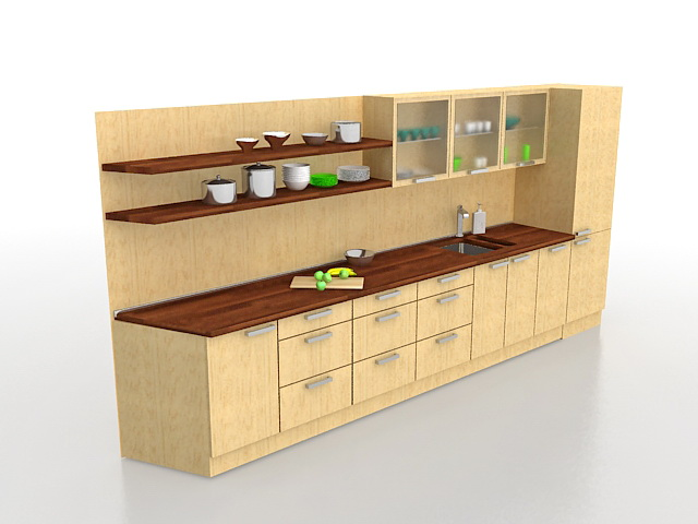 One wall kitchen cabinets 3d model 3ds max files free for Kitchen furniture 3ds max free