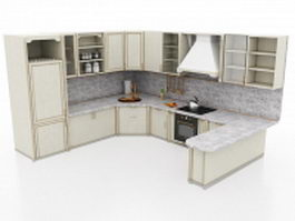 Grey stained kitchen cabinets 3d model