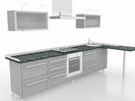 Gray kitchen cabinets with bar 3d model