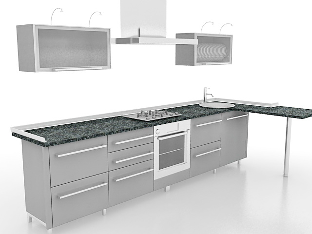 Gray kitchen cabinets with bar 3d model 3ds max files free for Kitchen furniture 3ds max free