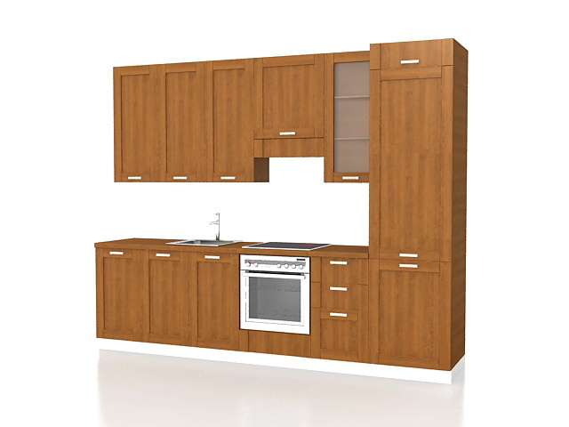 Corridor Kitchen Design 3d Model