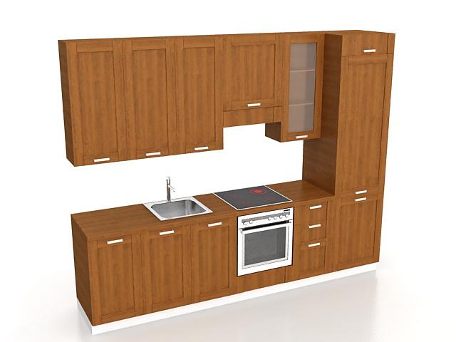 Corridor Kitchen Design 3d Model 3ds Max Files Free
