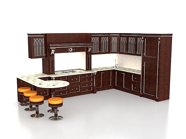 Classic L Kitchen With Bar 3d Model 3ds Max Files Free