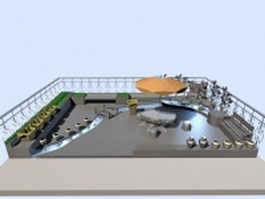 Roof garden design 3d model