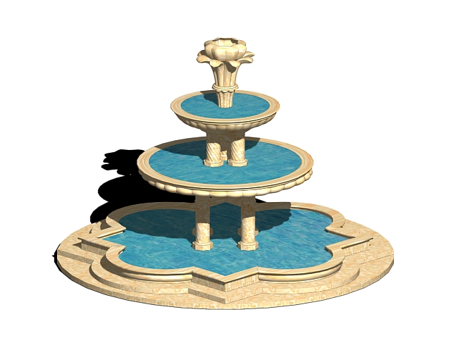 Landscape water fountain 3d model 3ds max files free for Garden design in 3ds max
