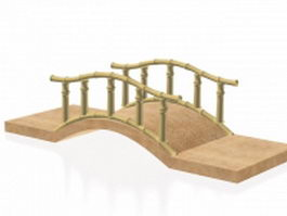 Bamboo bridge for the garden 3d model