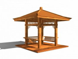 Wood square pavilion 3d model