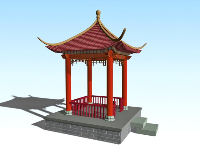 Traditional Chinese Pavilion 3d Model 3ds Max Files Free