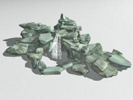 Garden rocky pond 3d model