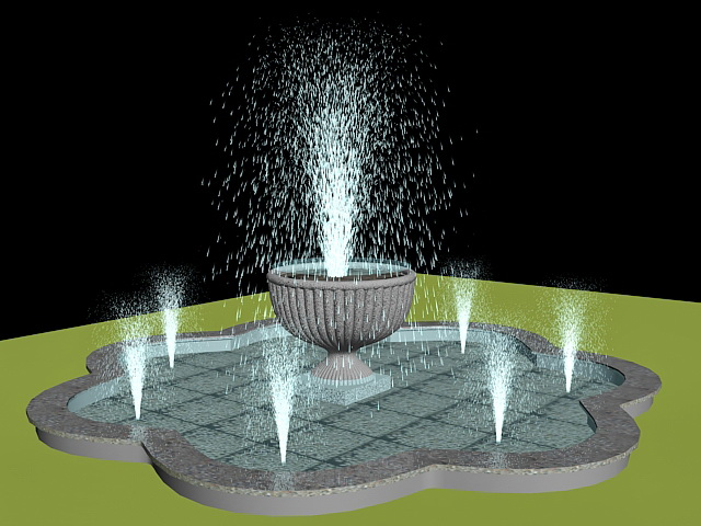 Outdoor Water Fountain 3d Model 3ds Max Files Free