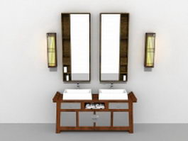 Antique bathroom vanity with mirror and light fixtures 3d model