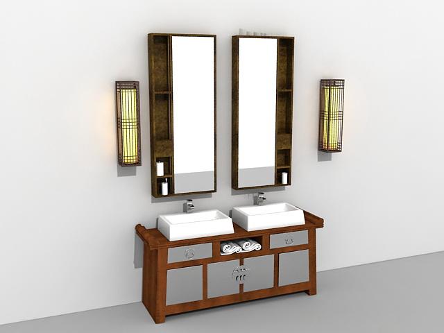 Antique Bathroom Vanity With Mirror And Light Fixtures 3d