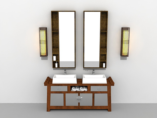 Bathroom Vanity Mirrors Models And Buying Tips: Antique Bathroom Vanity With Mirror And Light Fixtures 3d