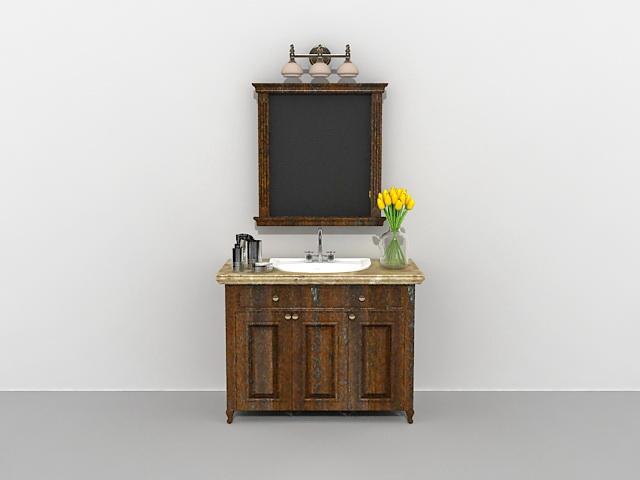 vintage bathroom vanity with wall mirror 3d model