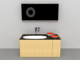 Modern bathroom vanity set 3d model