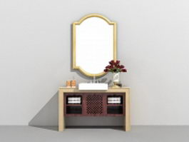 Single bathroom vanity with vessel sink 3d model