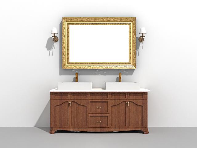 Double sink bathroom vanity with mirror and light fixtures 3d model
