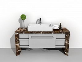 Marble bathroom vanity with vessel sink 3d model