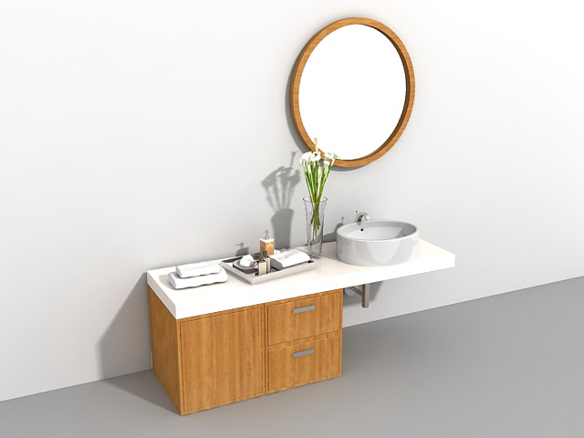Bathroom Accessories 3d Model bathroom vanity with makeup area 3d model 3ds max files free