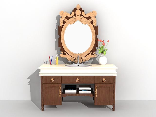 vintage bathroom vanity furniture 3d model