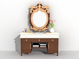 Vintage bathroom vanity furniture 3d model