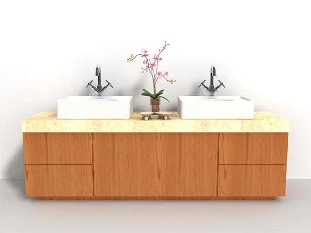 Bathroom double sink vanity 3d model