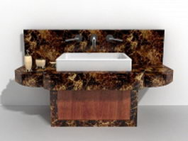 Black marble bathroom vanity 3d model