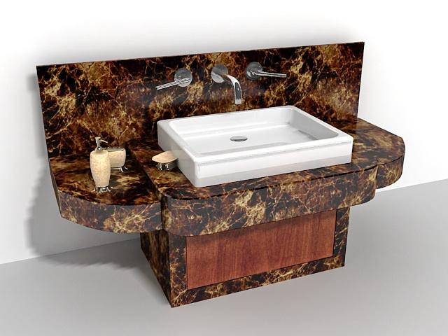 Black Marble Bathroom Vanity 48d Model 48ds Max Files Free Download Simple Black Marble Bathroom Model