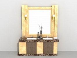 Yellow bathroom vanity 3d model