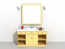 Wood bathroom vanity cabinet with vessel sink 3d model