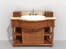 Retro wood bath vanity 3d model