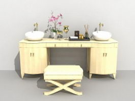 Bathroom vanity with sink and makeup table 3d model