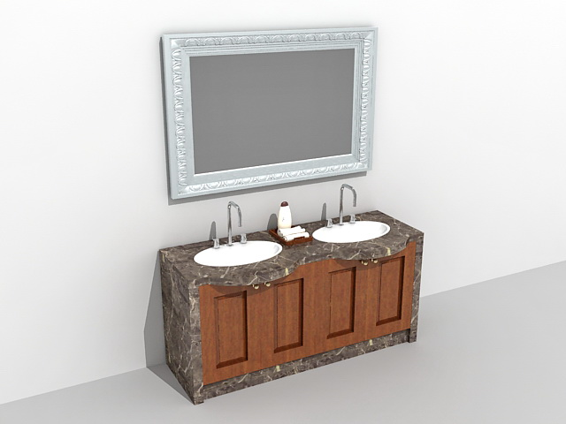 Vintage bath vanity with mirror 3d model 3ds max files for Bathroom design 3d model