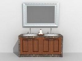Vintage bath vanity with mirror 3d model
