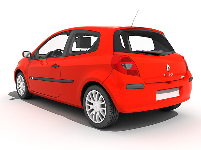 Renault Clio Car Red 3d Model 3ds Max Files Free Download