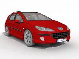 Peugeot 407 red 3d model