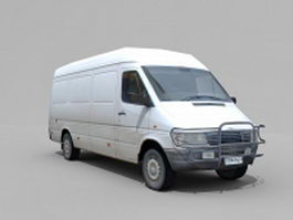 Old white van 3d model