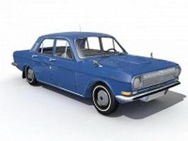 Vintage blue car 3d model