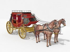 Royal horse-drawn carriage 3d model