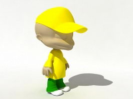 Cartoon baseball boy 3d model