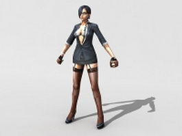 Sexy female spy agent rigged 3d model